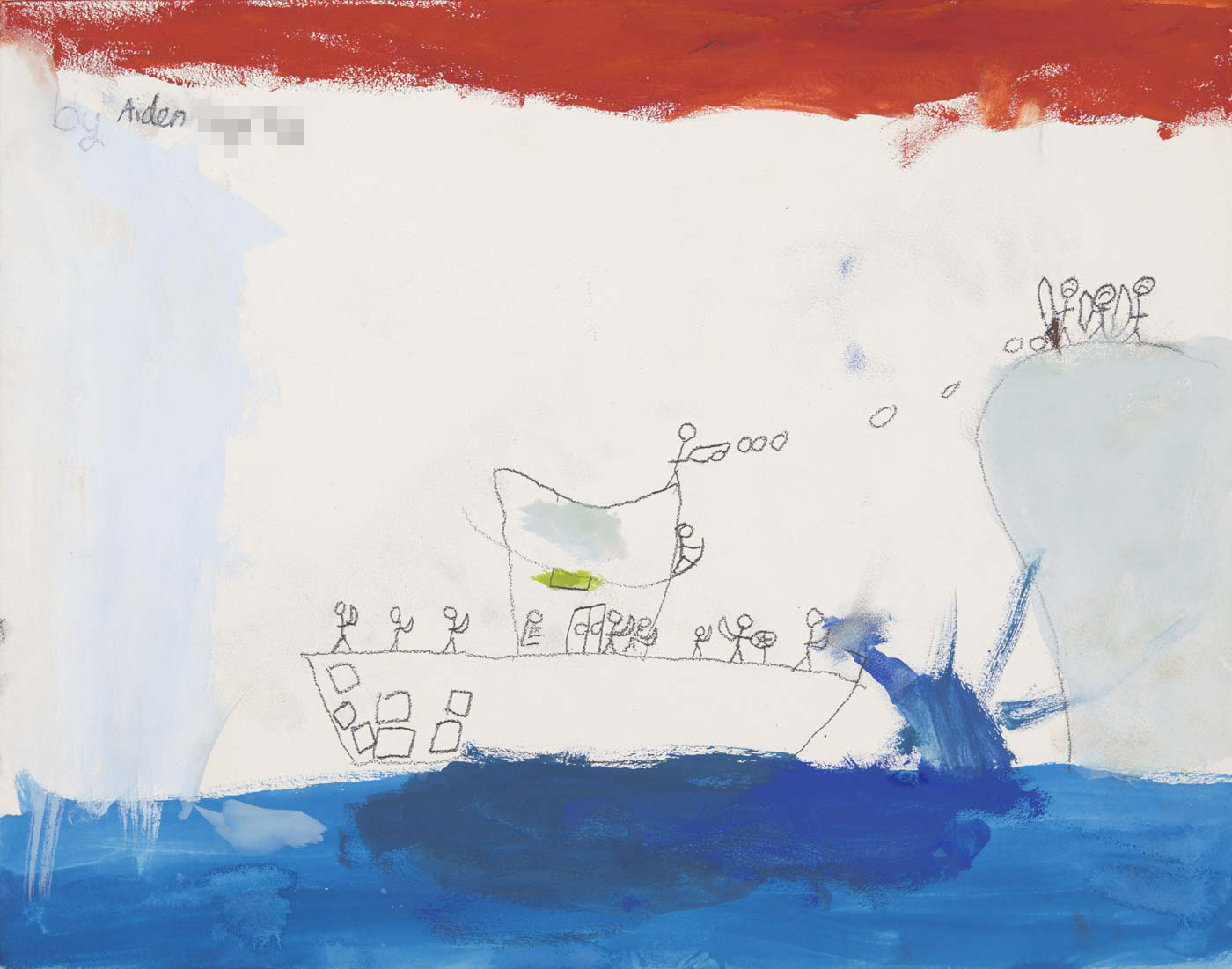 A child's painting depicting a ship at sea. - click to view larger image