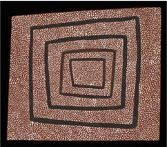 A painting of white dots on a brown surface, with four black irregular-shaped squares extending from the centre.