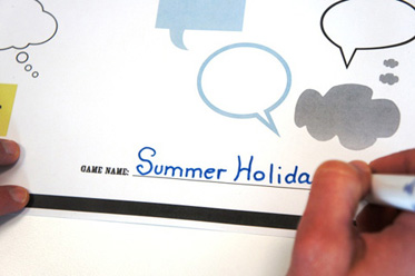 A board game template entitled 'Summer Holidays'.