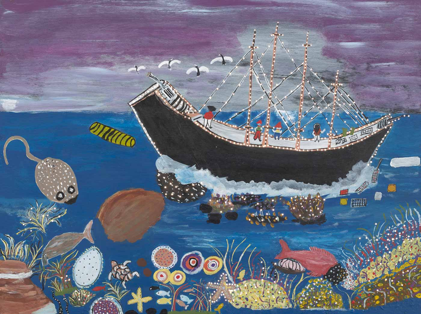 Painting featuring a ship with a captain and crew. It is sailing on a sea with sea creatures and other life below.