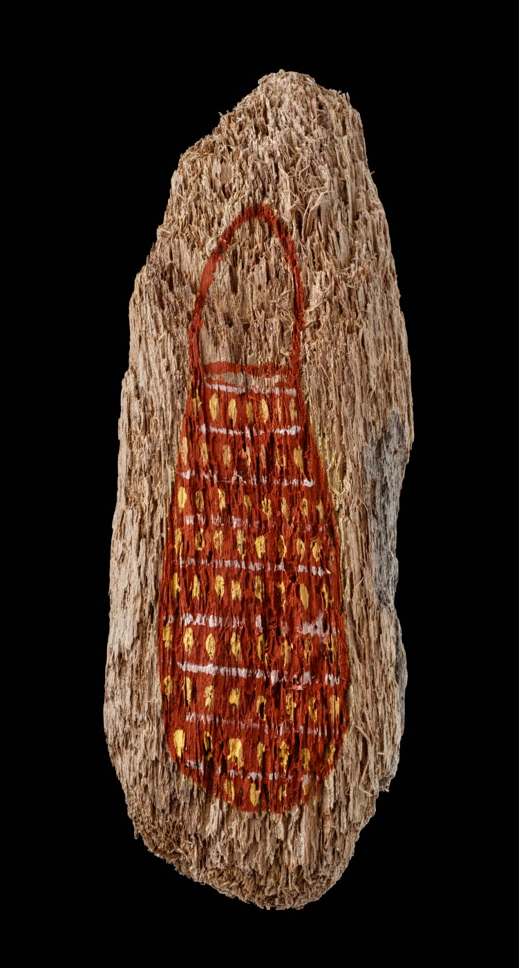 An acrylic painting on driftwood featuring a red/brown bag with white horizontal lines, and yellow vertical strokes painted horizontally in lines. - click to view larger image