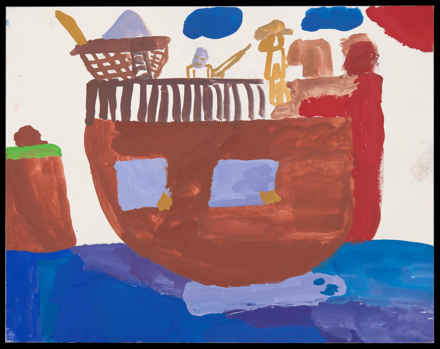 Painting on aquabord depicting a ship on still water with a headland to the left. Two figures are painted in gold on the ship's deck; one holds a gun. - click to view larger image
