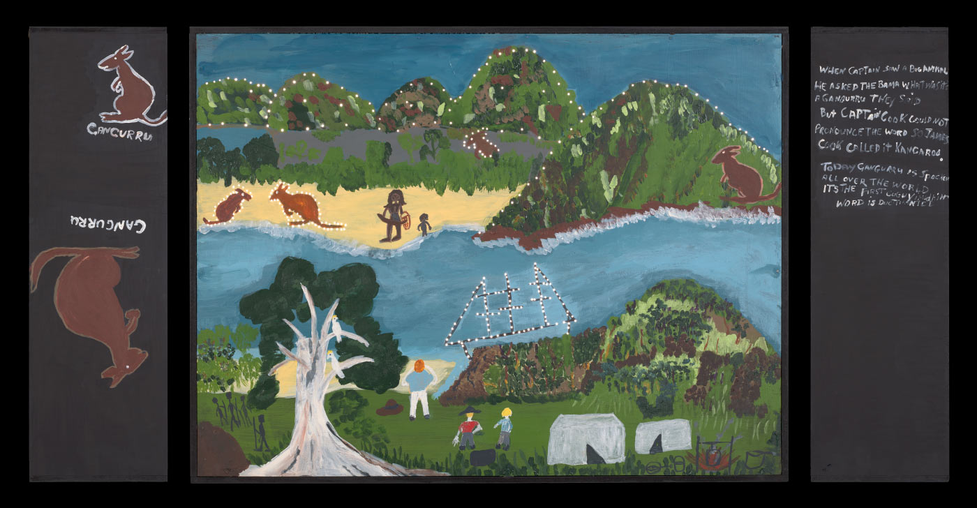 A light box made from plywood and medium density fibreboard [MDF]. An acrylic painting on the front of the box features a tree, a boat, a body of water, some human figures and kangaroos. There are two paintings of Kangaroos on the left side of the box and hand painted text on the right that begins 'WHEN CAPTAIN SAW A BIG ANIMAL / HE ASKED THE BAMA WHAT WAS IT? / A GANGURRU THEY SAID / ...' Very small holes have been drilled into the painting around the prominent features. - click to view larger image