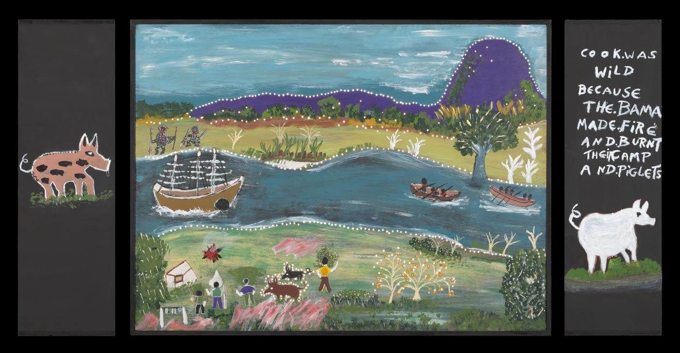 A plywood and medium density fibreboard [MDF] lightbox featuring an acrylic painting of a sail boat and two canoes on the water, a group of four white people on the shore with two pigs and two Aboriginal on the other side of the river. Very small holes have been drilled into the painting around the prominent features. - click to view larger image