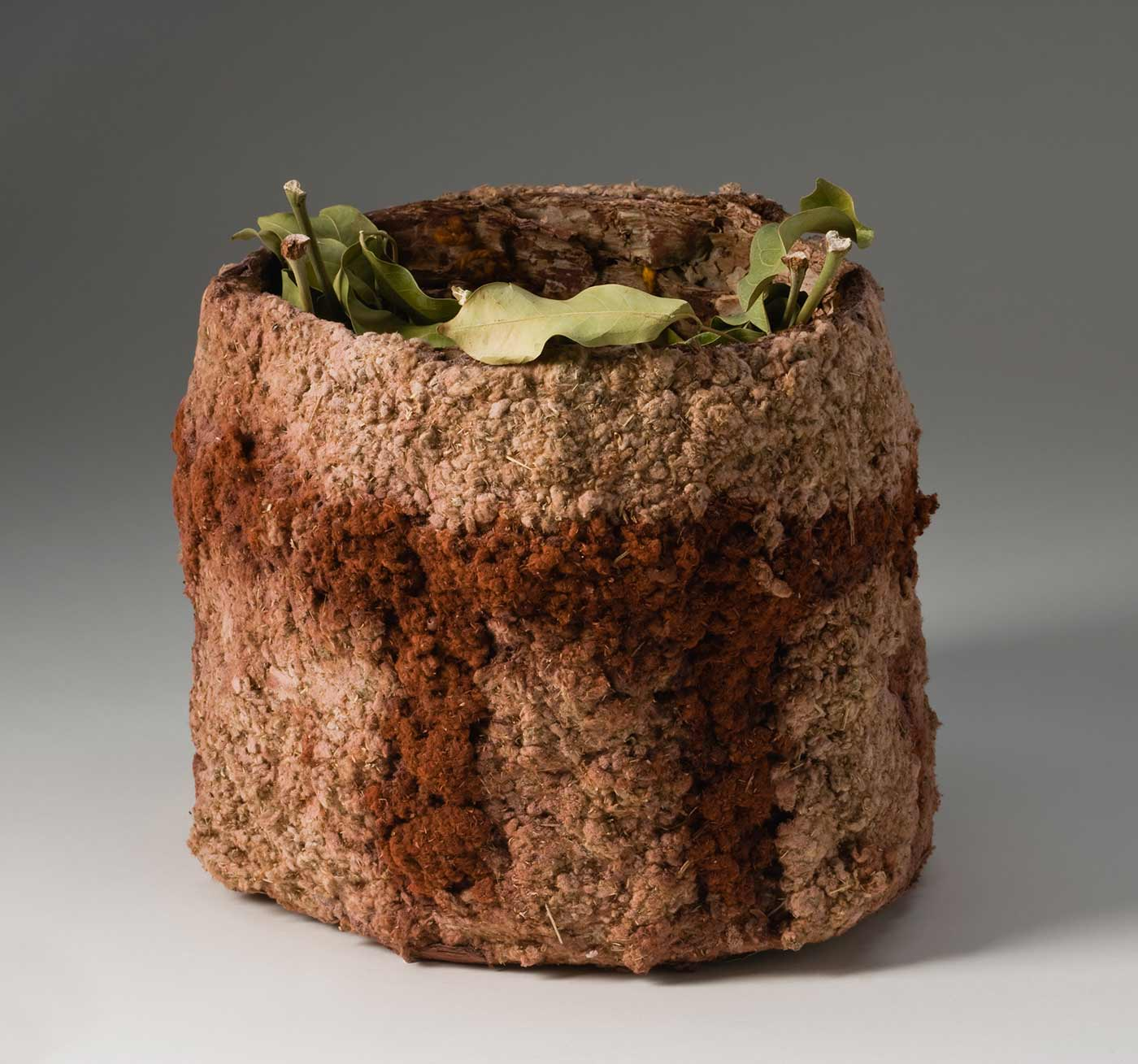 A brown rough bark cylinder covered with an outer layer of cream downy fibre which has been decorated with a red brown pigment. The pigmented design is a horizontal band with eight evenly spaced vertical lines extending from the band to one edge. The inner bark surface has a patchy covering of red brown pigment. The cylinder is filled with light green leaves. - click to view larger image