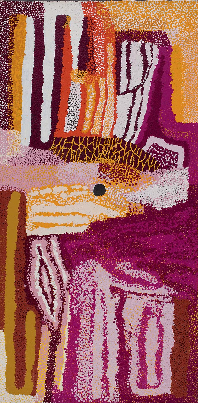 A closely dotted painting on brown linen featuring a rectangular section with uneven vertical stripes in dark pink, light pink, maroon, and brown in the bottom right corner. This pink continues up into the top section of the painting, ending in a point. In the lower left section are stripe patterns in brown and dotted stripes of yellow, burgundy and white, with a spearhead-like motif in pink and white dots. The middle has uneven horizontal stripes in yellow and white with a brown shape with a dotted yellow net-like pattern on it. In the top section of the painting there are vertical burgundy and white stripes to the left and orange, yellow, burgundy, white and brown dotted vertical shapes to the right.