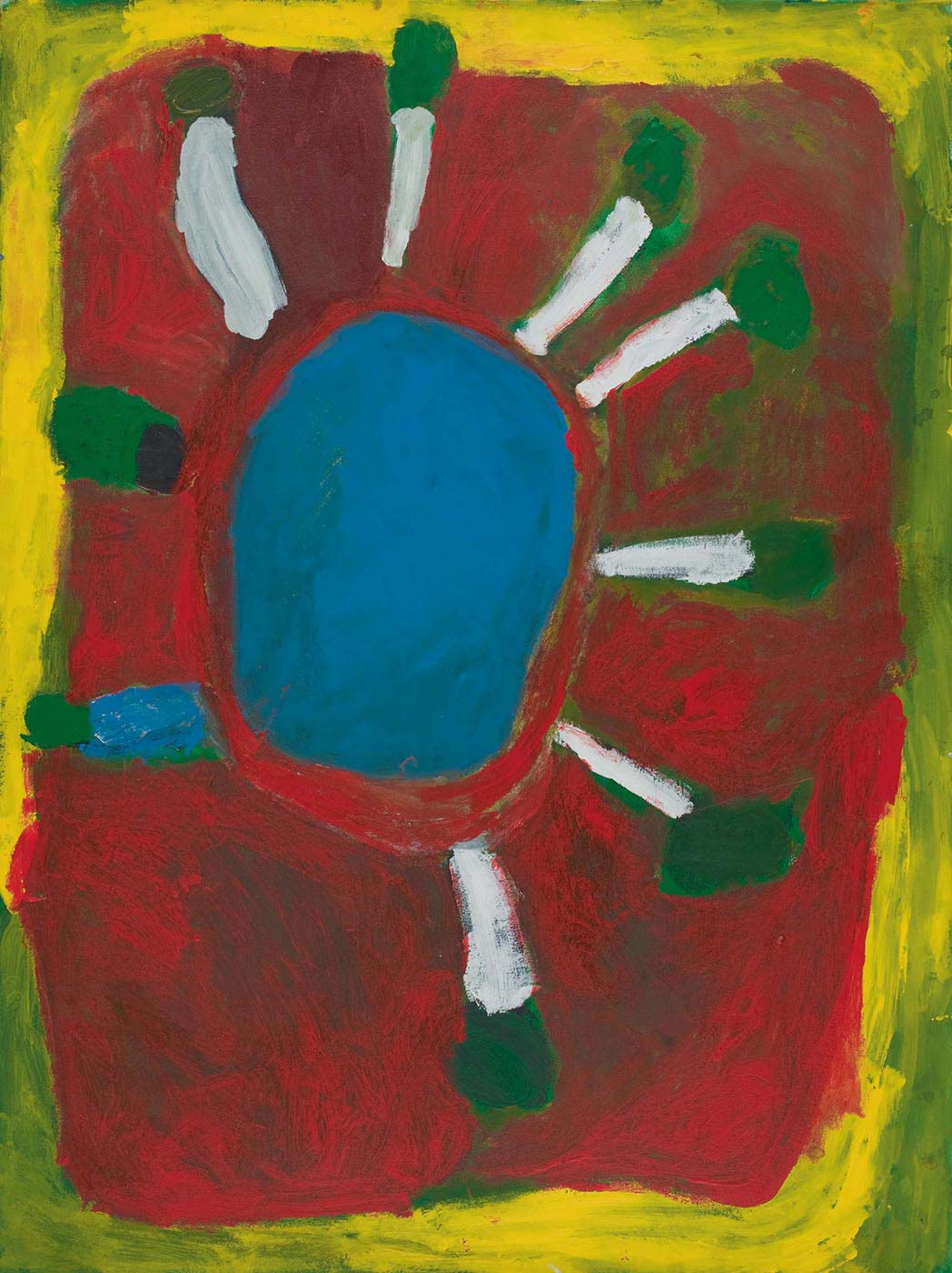 A painting on canvas with a blue circle in the centre with white and green tree-like motifs radiating around the edge, as well as one blue and green rectangle and a green and black oval shape. The central image is on a background of green overlaid by a square of red with a yellow border.