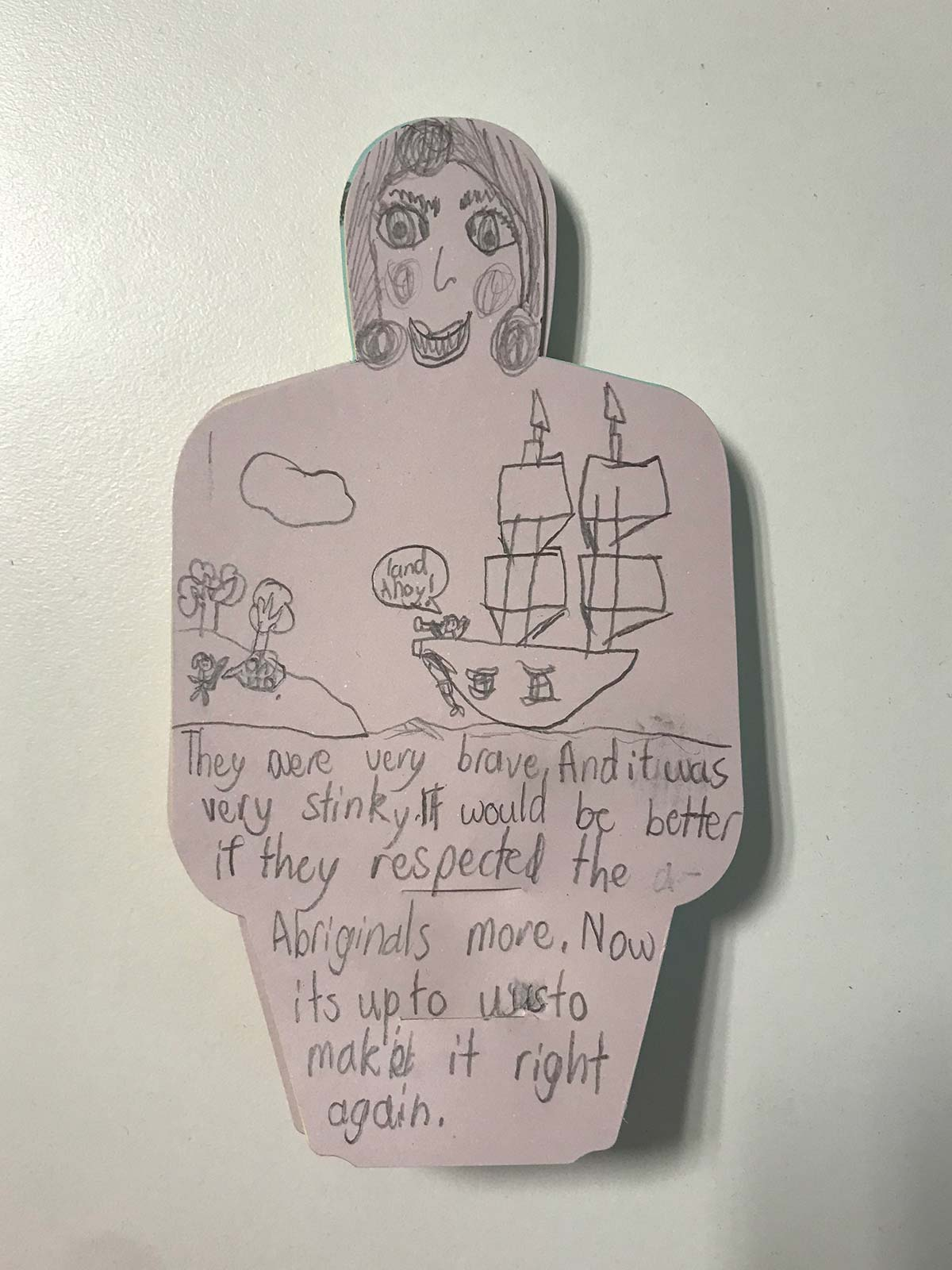 Paper figure with hand written text. Includes drawing of a woman's face; the Endeavour ship with a person saying 'land ahoy' in a speech bubble and looking through a telescope; a person on land with a spear and a speech bubble reading 'oh no. - click to view larger image