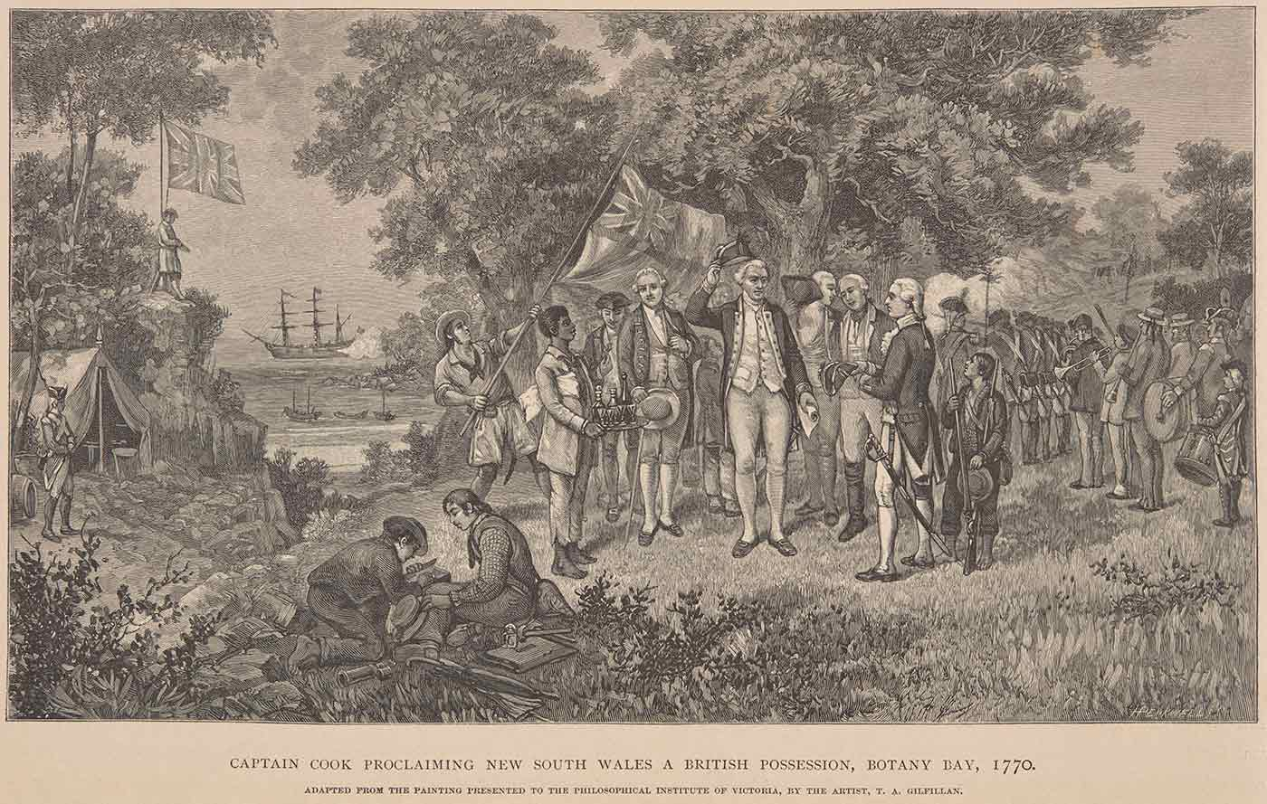 Illustration entitled Captain Cook Proclaiming New South Wales a British Possession, Botany Bay, 1770, from page 8 of Picturesque Atlas of Australasia. - click to view larger image