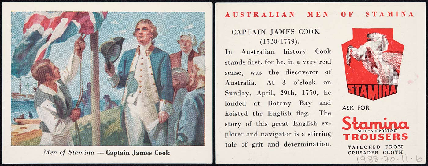 Compilation featuring on the left a swap card titled 'Men of Stamina - Captain James Cook'. It features colour picture of a man hoisting a Union Jack up a flag pole, with Captain Cook looking towards the flag, holding his hat in his right hand. On the right is a card with the title
