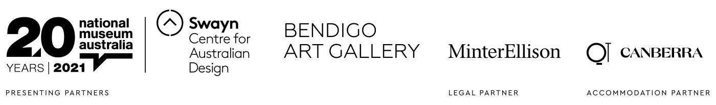 Logo block featuring: National Museum of Australia, Swayn Centre for Australian Design, Bendigo Art Gallery, MinterEllison, and QT Canberra.