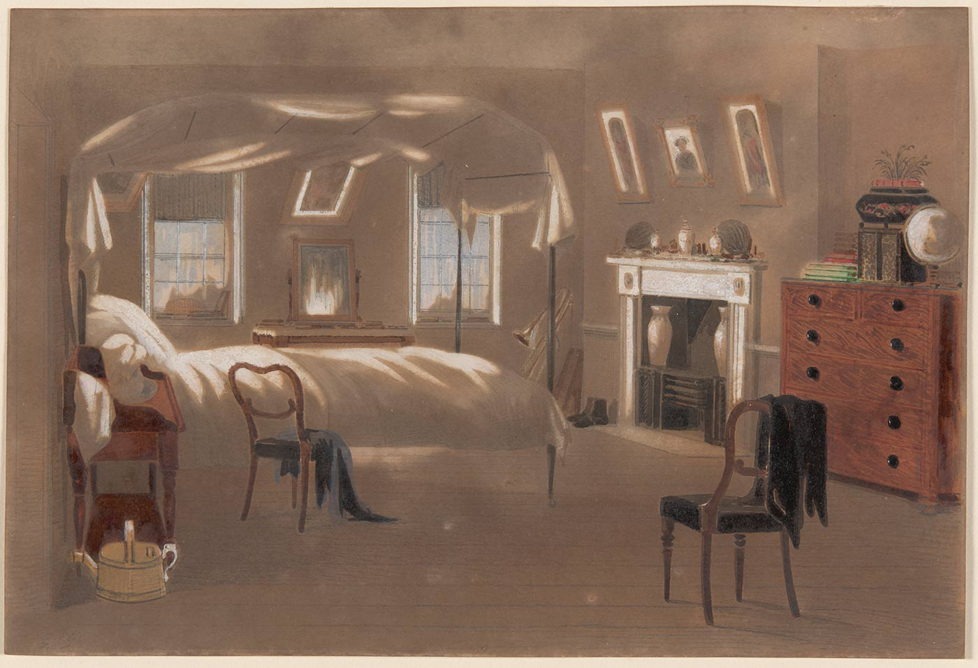 A watercolour painting in greys, browns and white with small sections of green, red and blue depicting an empty bedroom. The room includes a bed, two chairs, a fireplace, a set of drawers, a washing stand, and a vanity. Handwritten in pencil in the bottom left hand corner is 'S.T.G.'. - click to view larger image