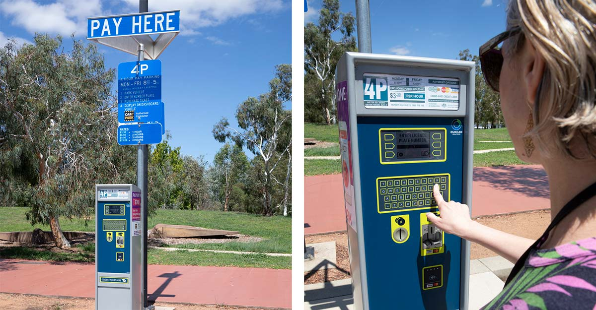 Composite of an image of a pay parking ticket machine on the left and an image of a woman operating the machine on the right.