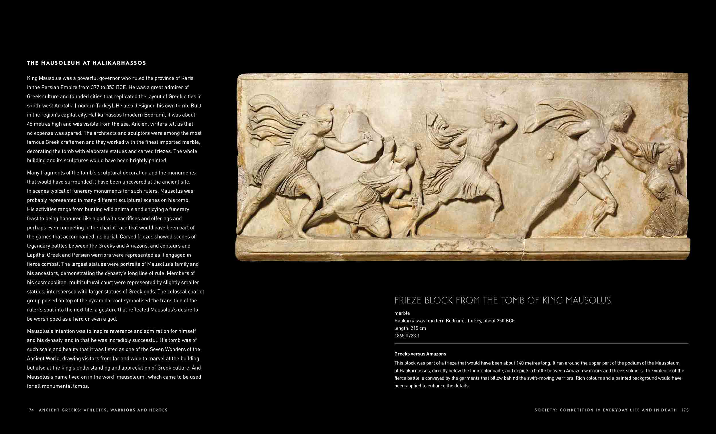 Sample page of a catalogue featuring text and a marble frieze with a relief design of a battle scene. - click to view larger image