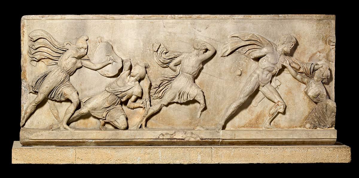 Relief sculpture of a battle scene.