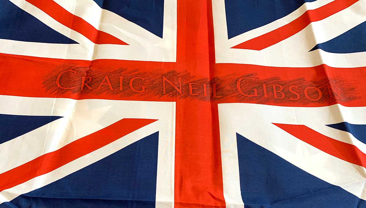 Union Jack section of an Australian flag with the name Craig Neil Gibson etched into the central horizontal band.