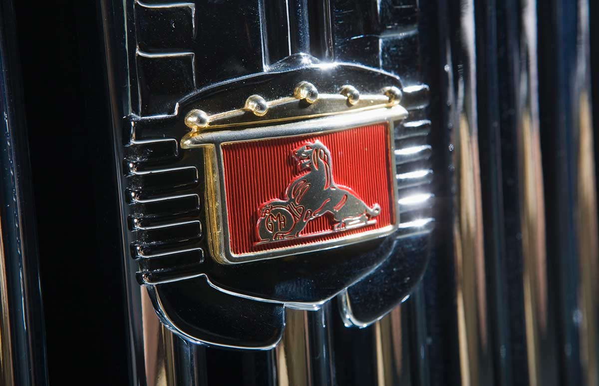 Detail of a grille with the Holden logo. - click to view larger image