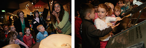 Image on left: Amaroo Preschool students watch Museum Education officer Deborah Frederick decorate her face with ground ochre. Image on right: Preschoolers stroke a possum skin in the 'Tooloyn koortakay' exhibit.