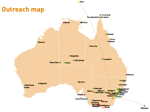 Map of Australia indicating the location of the Museum's outreach programs.