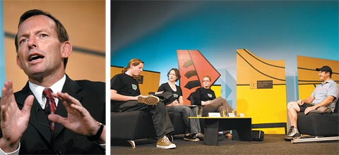 Photos from Talkback Classroom: (left) the Hon. Tony Abbott, Minister for Health and Ageing; (right) Students in discussion with Michael Milton, Paralympic skier and mountain climber.