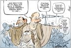 Cartoon of a Messiah-like John Howard with disciples Peter Costello and Tony Abbott, who try to keep the sick at bay as they ask Howard to perform miracles on the rail network and schools, similar to his miracles in marginal seats.
