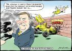Cartoon of Peter Costello telling the media that the economy is like a finely calibrated racing car and you wouldn't put an irresponsible risk-taker behind the wheel. In the background the wheels are falling off a racing car that Howard has crashed into a wall.