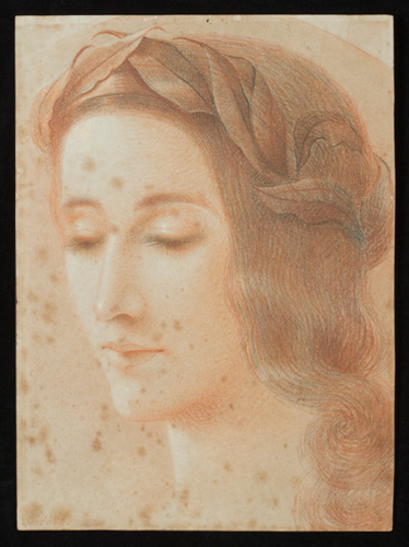 A red crayon sketch featuring an image of a woman's face. She is wearing a laurel wreath and her eyes are downcast.