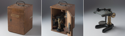 A series of three images showing a wooden box at left, the box with its door ajar and a microscope inside, centre, and a microscope, at right.