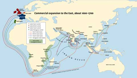 Map of the world showing commercial expansion to the East, about 1600-1700.