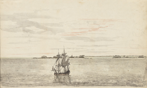 A pen and ink drawing of Captain Cook's ship the Resolution, in the Pacific in 1774. The ship is in the centre foreground of the drawing, facing to the left of the image. It is shown on a calm sea, depicted by short, soft horizontal ink strokes. The horizon is behind the ship, about one third of the way up from the bottom of the image. An island is seen near the horizon, directly behind the ship; another island is off to the right. A dark line on the horizon toward the right suggests a larger landform. The sky is shown to have some long thin clouds in it. The entire image is almost black and white, with the exception of some light brown colouring in the ship's hull and some red cloud markings in the sky.