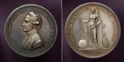 Silver James Cook medal produced by the Royal Society