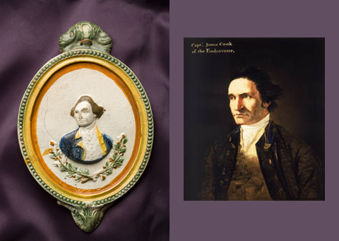 Left: Pratt ware portrait of Captain James Cook Right: Portrait of Captain James Cook by artist William Hodges in about 1775.