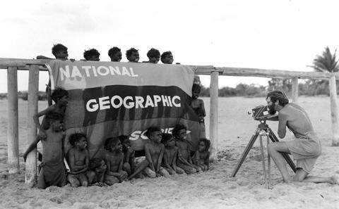 Howell Walker photographing at Umbakumba, 1948.