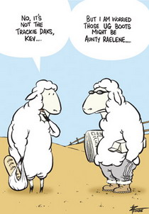 Cartoon of a sheep expressing his concern to his trackie dak wearing friend that his ug boots may be Aunty Raelene.