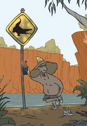 Cartoon of a drunken Australian about to take a swim in crocodile infested waters.