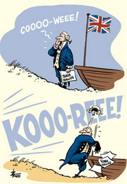 Cartoon of a British settler arriving on the shores of Australia and calling out coo-wee, to be answered with a bellowing, 'Koori!'