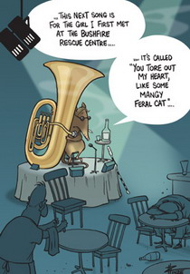 Cartoon of a blind bandicoot playing the tuba in a jazz club.