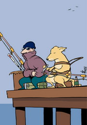 Cartoon of a blind man and his guide dog fishing off a jetty together.