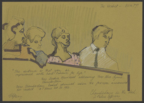 Pencil sketch showing four people sitting behind a dock, with an olive coloured background. A woman wearing a pink dress with dark spots sits centrally, with a man dressed in a white shirt and black tie to her right. Two other people sit to her left. 'The Verdict - GUILTY!' is written in pencil at the top right, with other writing at the bottom and the artists' signature bottom left.