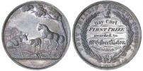 Photo showing two circular medal faces, side by side. The face on the left shows an image of a cow, sheep and horse in a rural scene. The right is inscribed 'Hay Cart/First Prize/awarded to/Mr Gilbert Alston/Annual Exhibition 1859'.