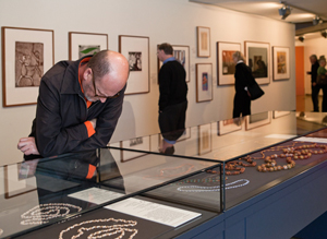Visitors enjoying the artworks
