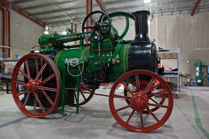 A colour photograph of the Ransomes, Sims & Jefferies portable steam engine.
