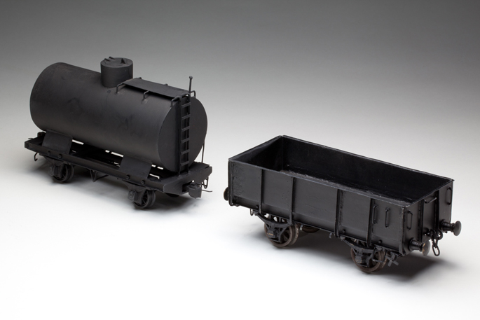 Victorian Railways petrol tanker and open wagon made with tinplate and cast metals, by Kenneth Lowry