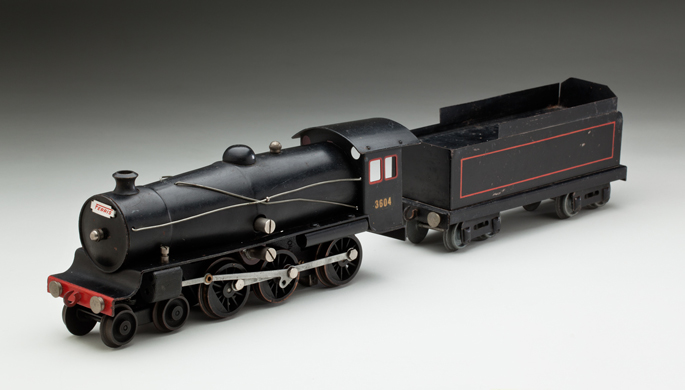 New South Wales Railways C36 class steam locomotive with tender, made with pressed and cast metals by Ferris Bros Pty Ltd