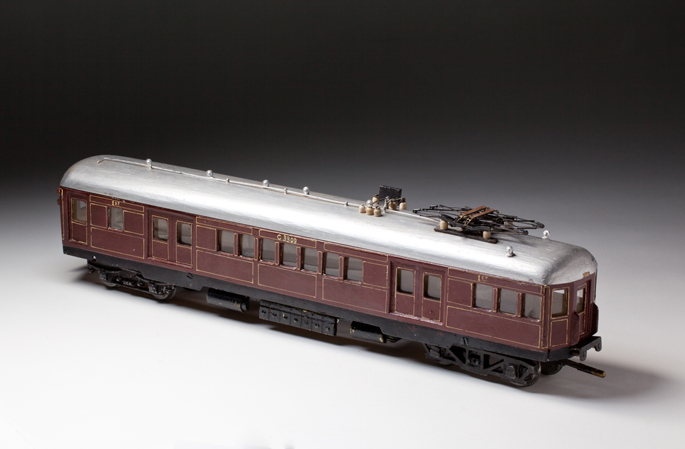 New South Wales Railways suburban electric train motor car, made from wood and cast metals by Frederick Steward and associates