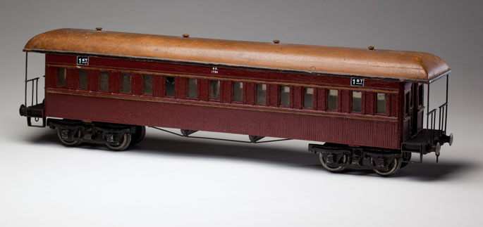 New South Wales Railways 'American' style end-platform first class car, made with wood and metal components by Arthur Trimingham