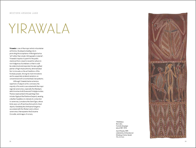 Page spread from the Old Masters publication featuring the section on Yirawala.
