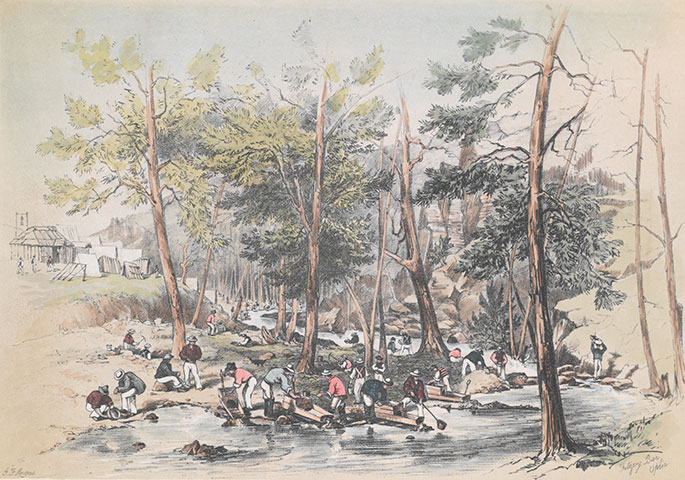 Colour illustration of several men using gold mining cradles to wash for gold by a narrow river. They are surrounded by trees and in the background a small settlement is visible.