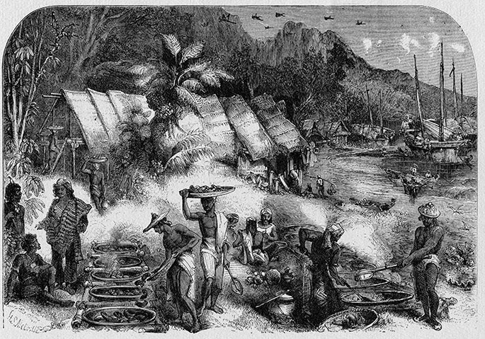 Black and white sketch showing two groups of people trading goods. Grass huts and a harbour form a backdrop.