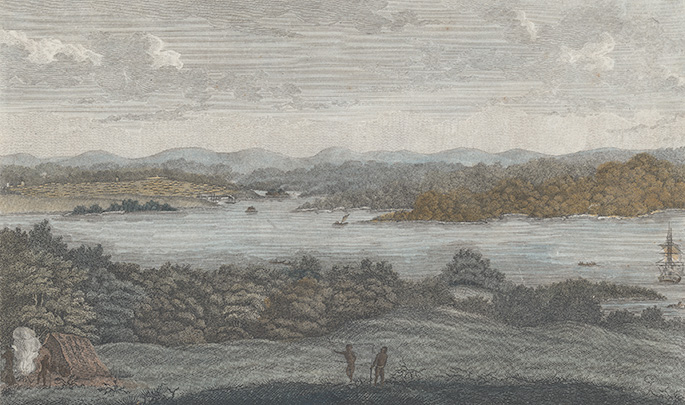 Colour print of Port Jackson harbour, with Indigenous people in the foreground and a sailing ship moored in the harbour.